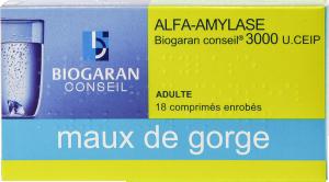 Alfa-amylase biogaran conseil 3 000 u.ceip, comprimé enrobé